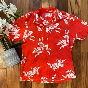 Authentic Hawaiian Tropical shirt Red Floral XL